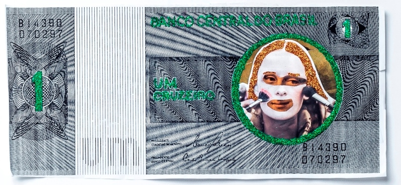 Marcelo Brasiliense, Mánota de 1, 2017. Série: Monotários. Papel, glitter, recortes e fotocópia. 28 x 59 cm