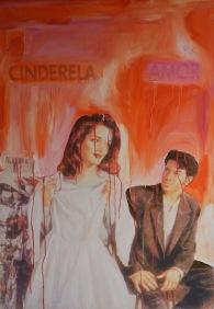 Luana Lins, Cinderela amor, 2018, série Sabrinas, impressão e óleo sobre tela, 130 x 90 cm