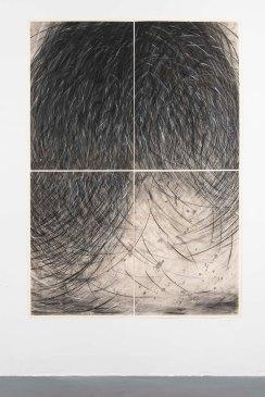 Gustavo Aragoni, Sem título, 2018 . Pastel, carvão e massa acrílica sobre papel . 200x140cm (políptico)