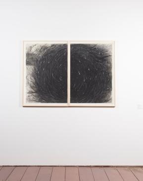 Gustavo Aragoni, Sem título, 2018 . Pastel, carvão e massa acrílica sobre papel . 100x140cm (díptico) . 43º SARP . Ivan Padovani