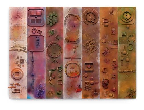 Milton Blaser . Tranforming things in real tim, 2018 spray fosco sobre sucata de relógios colados em painéis de madeira 1,28x172,90cm (1,28x24,7cm cada)