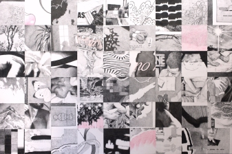 Gabriel Pessoto, repositório: um pouco por dia já é muito, 2018. crayon e lápis de cor sobre papel, 178x267cm