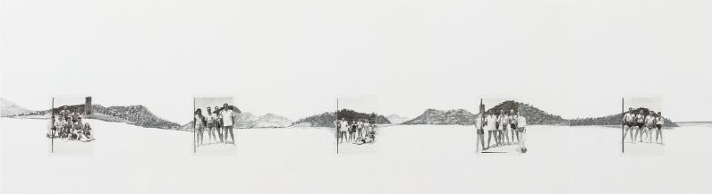 Miriam Bratfisch Santiago, Santos, 20/04/1952 (I), 2019. Impressão fine art e grafite sobre papel. 40 x 145 cm