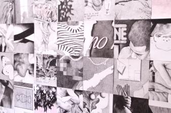 Gabriel Pessoto, repositório: um pouco por dia já é muito, 2018. crayon e lápis de cor sobre papel, 178x267cm . detalhe