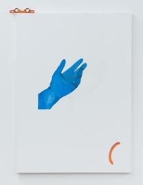 Fernando Moleta. Naked corbusier, 2018. Óleo sobre tela e régua nível. 160x110 cm