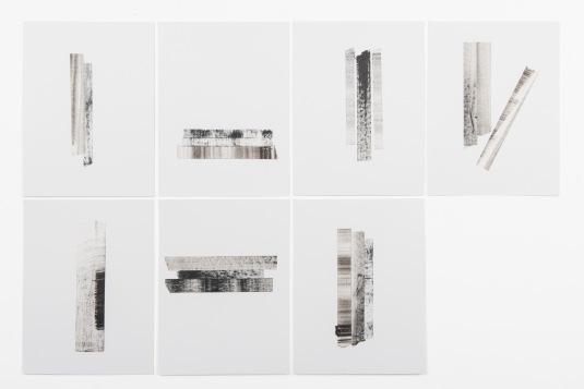 Michelle - Michelle Rosset, sem título, 2018, série Gênesis. Acrílica e fita crepe sobre papel, 30 x 23 cm cada (políptico)