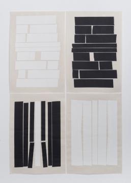 Michelle - Michelle Rosset, sem título, 2018, série Gênesis. Fita de restauro sobre papel japonês. 46,5 x 32 cm cada (políptico)