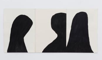Silvia Jábali, sem título, 2018, acrílica sobre papel, tríptico, 50 x 36 cm cada