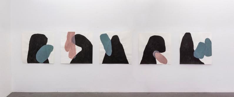 Silvia Jábali, sem título, 2018, acrílica sobre papel, políptico, 100 x 100 cm cada