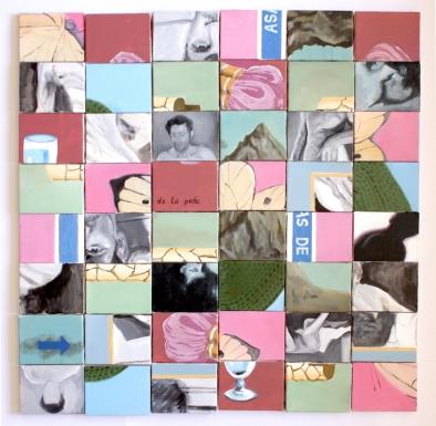 Gabriel Pessoto, eventualidade, 2018. acrílica sobre 48 telas. 72x72cm