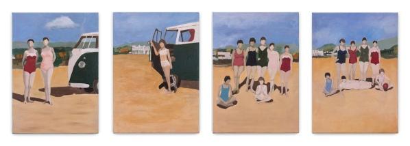 Miriam Bratfisch Santiago, Praia Grande, 2018. Série. Oleo sobre tela. 45 x 31 cm (cada)