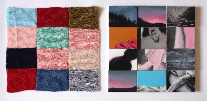 Gabriel Pessoto, emaranhar, 2017. acrílica sobre 12 telas e tricô, 36x36cm e 36x36cm