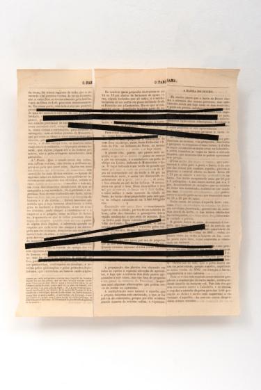 Michelle Rosset, sem título, 2019, série Genesis. Fita e livro antigo sobre papel. 27 X 24 cm