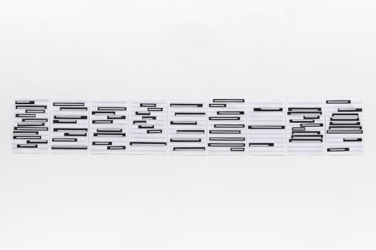 Michelle Rosset, sem título, 2018, série Genesis. Fita sobre partitura. 20.5 x 31 cm cada (políptico)