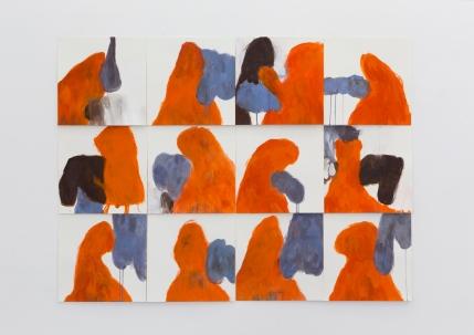 Silvia Jábali, sem título, 2018, acrílica sobre papel, políptico, 40 x 40 cm cada