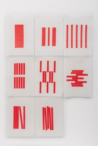 Michelle Rosset, sem título, 2019, série Gênesis. Fita sobre papel japonês. 44 x 30 cm cada (políptico)