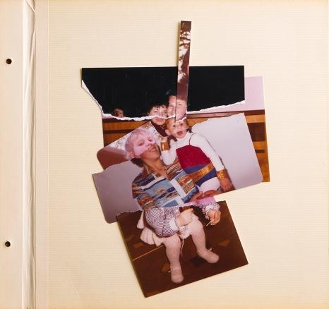 Janaisa Cantele, n.13, 2016. Série um pouco de todos. Fotomontagem com folhas de álbum antigas, fotografias rasgadas e cortadas. 29,5 x 30,5 cm.