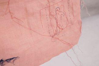 Janaisa Cantele, do avesso, 2017. Bordado livre em tecido de linho e linhas de costura. 95 x 41 cm