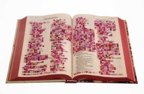 Janaisa Cantele. bem dito, 2019. Bíblia e adesivos autocolantes. 3x 30 x 22 cm